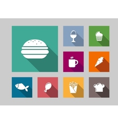 Flat food icons set vector