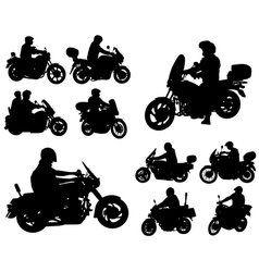 Motorcyclists silhouettes collection vector
