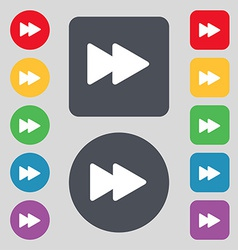 Rewind icon sign a set of 12 colored buttons flat vector