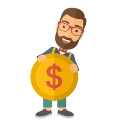Businessman holding a big coin vector