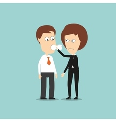 Business woman put a cloth gag in colleagues mouth vector