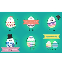 Happy easter with happy eggs vector