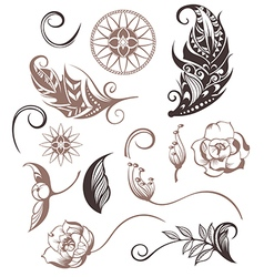 Set of ornamental boho style elements vector