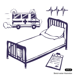 Hospital bed and ambulance vector