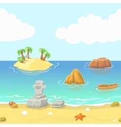 Seamless cartoon beach landscape with island vector