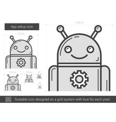 App setup line icon vector