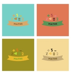 assembly flat icons math lesson vector image vector image