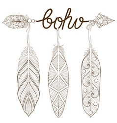 Bohemian arrow hand drawn amulet boho with henna vector