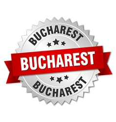 Bucharest round silver badge with red ribbon vector