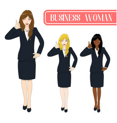 Business woman thumb up vector