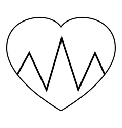 Cardiogram heart icon outline style vector