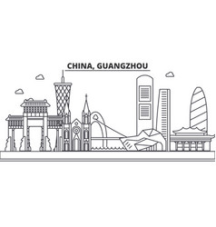 China guangzhou architecture line skyline vector