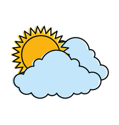 cloud weather with sun vector image