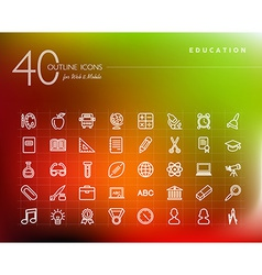 Education outline icons set vector image