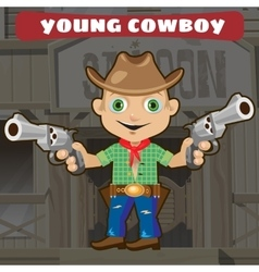 Fictional cartoon character - young cowboy vector image