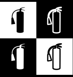 Fire extinguisher sign black and white vector