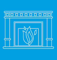 Fireplace icon outline style vector
