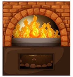 Fireplace with fire and woods vector