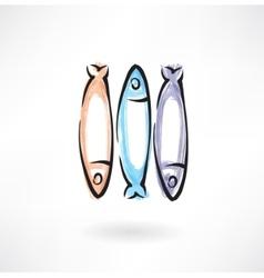 Fish grunge icon vector