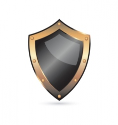 golden shield vector image vector image