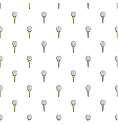 Golf ball on a yellow tee pattern vector