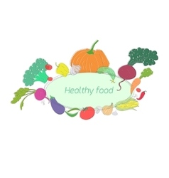Green vegetables healthy food text vector image vector image