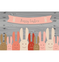 Happy easter cards with Easter bunnies vector image vector image