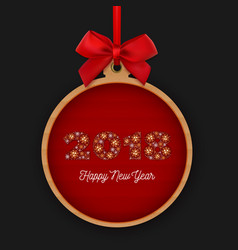 Happy new year 2018 round banner with red ribbon vector