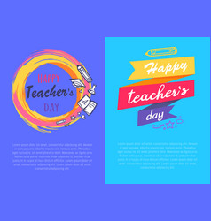 Happy teachers day set of two vector