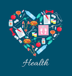 Heart poster of diet health medicines vector