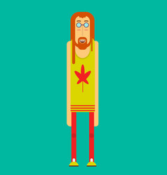Hippie man round-shouldered isolated poster vector