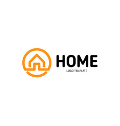 home linear logo smart house line art vector image vector image