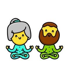 Kawaii cartoon style old couple doing yoga vector