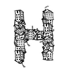 Letter h made from houses alphabet design vector