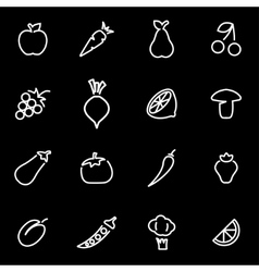line fruit an vegetablees icon set vector image vector image