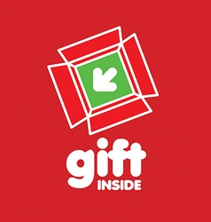 Logo box for gifts on a red background vector