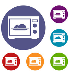 Microwave icons set vector