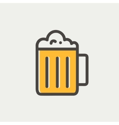 Mug of beer thin line icon vector image vector image