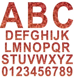 Red mosaic font set vector
