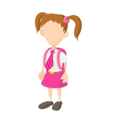 School girl in uniform icon cartoon style vector image