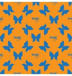 Seamless pattern with outline blue butterflies vector image vector image