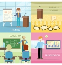 Set of Business Education Concepts in Flat Design vector image vector image