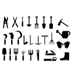 Set of garden hand tools icon vector
