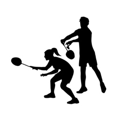 Silhouettes of mixed team badminton players mixed vector