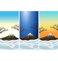 Three scenes of moutains with snowtop vector image