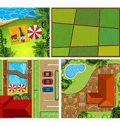 Top view of house and park vector image vector image