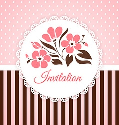 Vintage invitation card with flowers vector image vector image