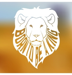 Wild african lion head silhouette with text inside vector