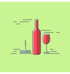 Wine glass bottle flat design background vector