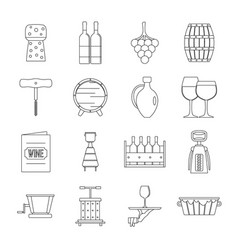 Wine icons set outline style vector